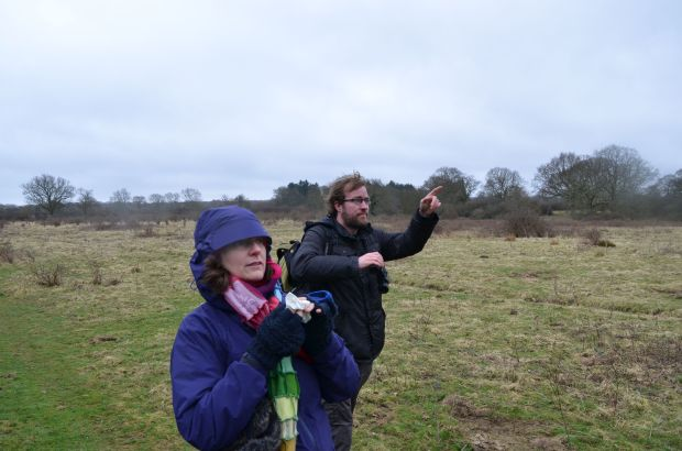 Joe and Anne tracking the red kites