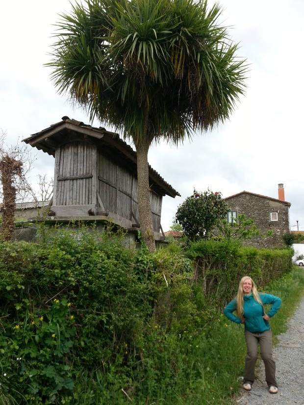 Famous elaborate chicken house of Galicia (and me pretending to be a chicken)