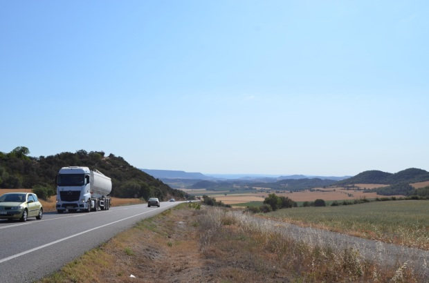 Hint of mountain... and a few lorries!