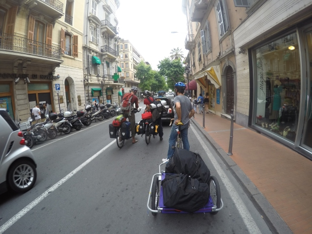 On the busy streets of Ventimiglia