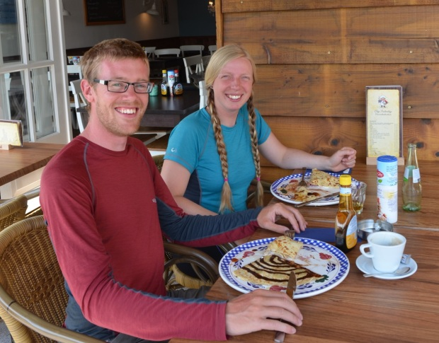 Dave and I stopped for pancakes when we arrived in Belgium