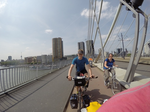 Dave enjoying Rotterdam (about to be overtaken by a slightly larger lady - Anna, ride faster!)