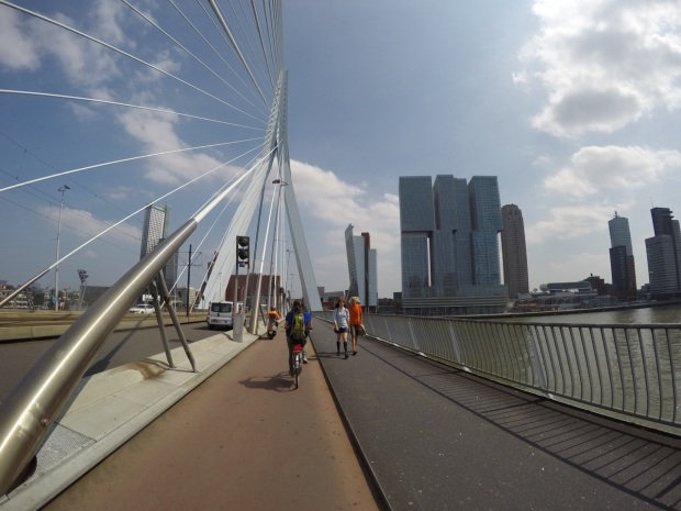 Bridge in downtown Rotterdam.  Tram lines in the middle, then cars, then bikes, then walkers!  Amazing.