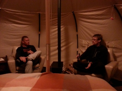 Evening beer in the tent
