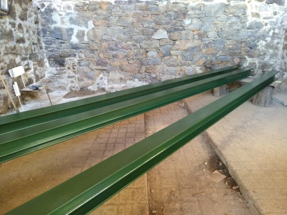 Painted beams ready to go
